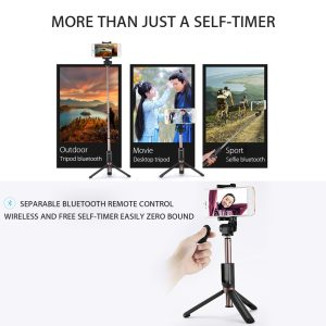 Trepied si Selfie stick hybrid portabil Remax, cu declansator inclus Negru-0