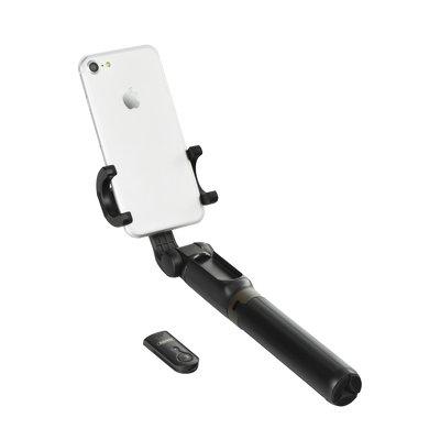 Trepied si Selfie stick hybrid portabil Remax, cu declansator inclus Negru-4436