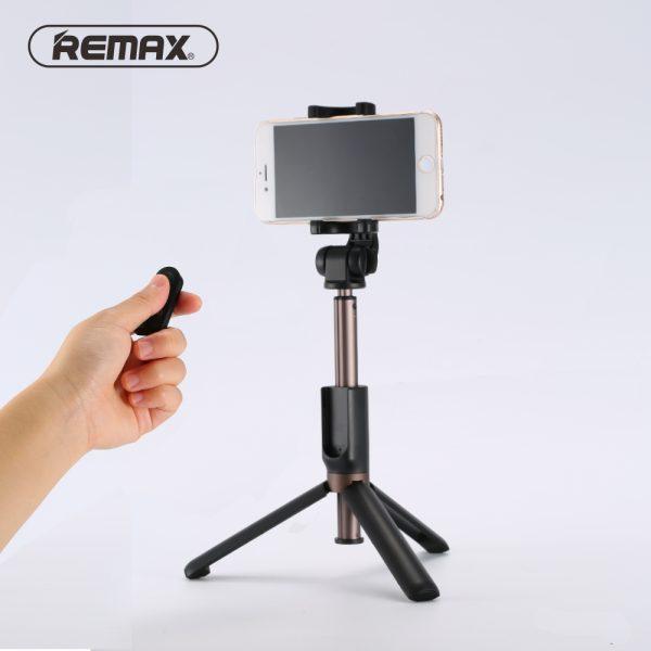 Trepied si Selfie stick hybrid portabil Remax, cu declansator inclus Negru-3531