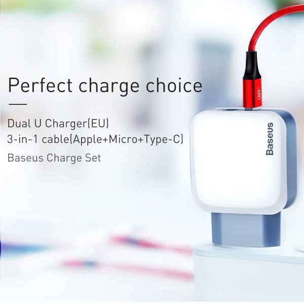 Incarcator cu doua iesiri USB adaptor priza 2.4A Baseus Letour-4198