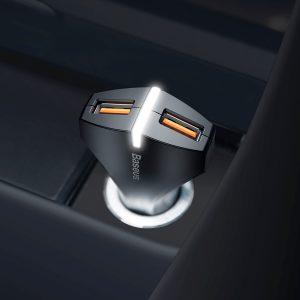 Incarcator cu suctie magnetica auto premium Baseus small rocket qc 3.0 (negru)-0