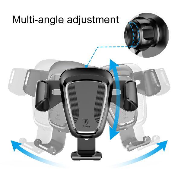 Suport telefon premium Baseus Gravity aluminiu si piele Negru-4090