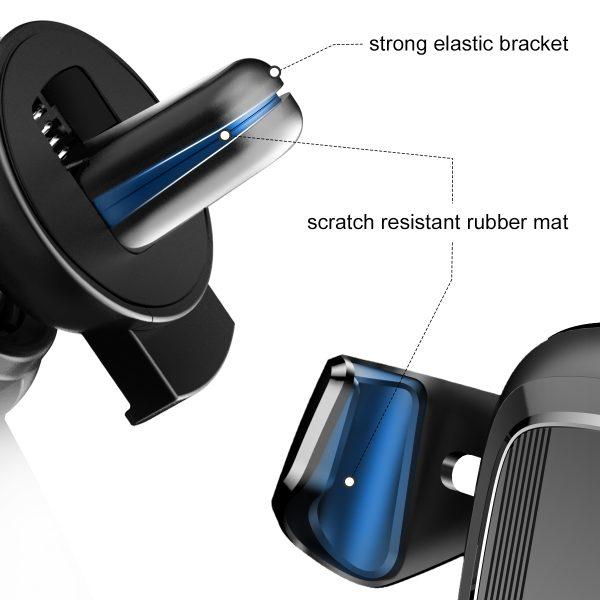 Suport telefon premium Baseus Gravity aluminiu si piele Negru-4087