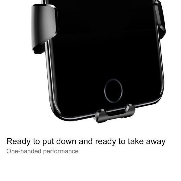 Suport telefon premium Baseus Gravity aluminiu si piele Negru-4095