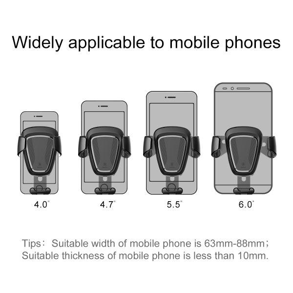 Suport telefon premium Baseus Gravity aluminiu si piele Negru-4086