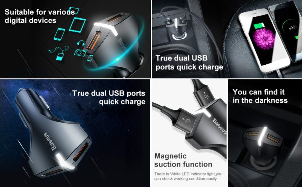 Incarcator cu suctie magnetica auto premium Baseus small rocket qc 3.0 (Alb)-4520