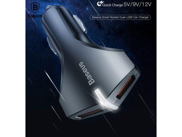 Incarcator cu suctie magnetica auto premium Baseus small rocket qc 3.0 (Alb)-4521