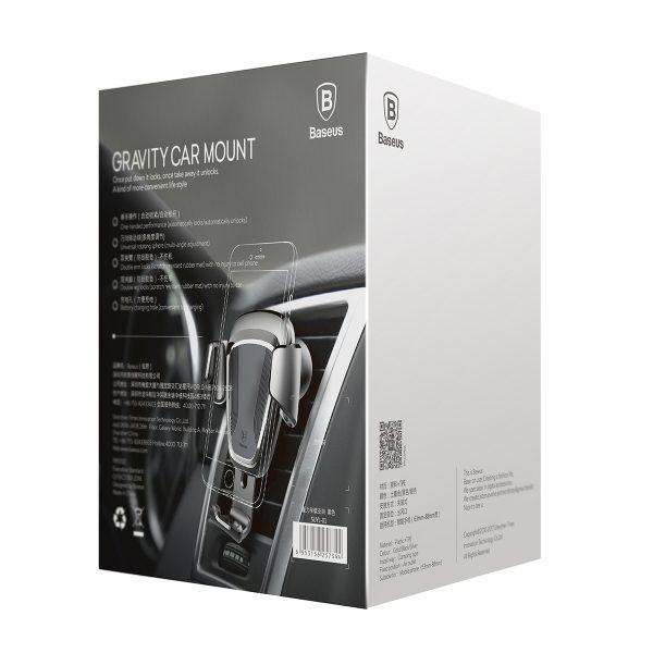 Suport telefon premium Baseus Gravity aluminiu si piele Silver Argintiu-4506