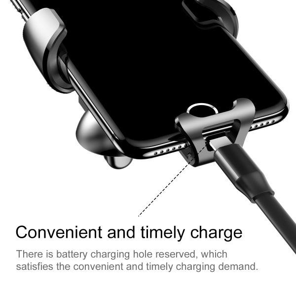 Suport telefon premium Baseus Gravity aluminiu si piele Silver Argintiu-4500