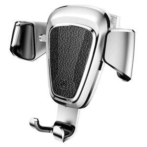 Suport telefon premium Baseus Gravity aluminiu si piele Silver Argintiu-0