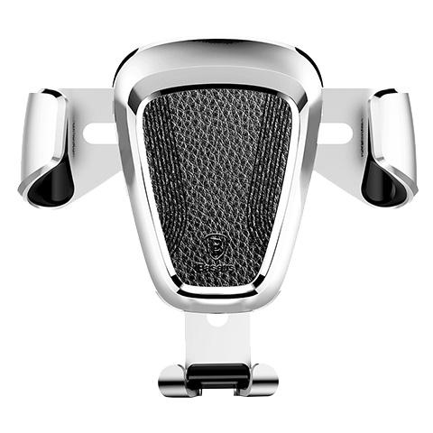 Suport telefon premium Baseus Gravity aluminiu si piele Silver Argintiu-4508