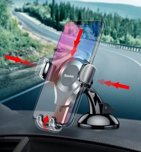 Suport telefon pentru parbrizul sau bordul masinii Baseus Osculum Gravity (Argintiu)-4765