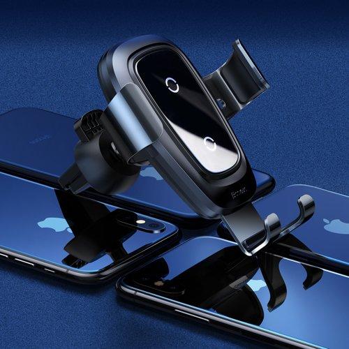 Suport masina Baseus Wireless Charger Gravity Metal cu incarcare wireless qi argintiu-4890