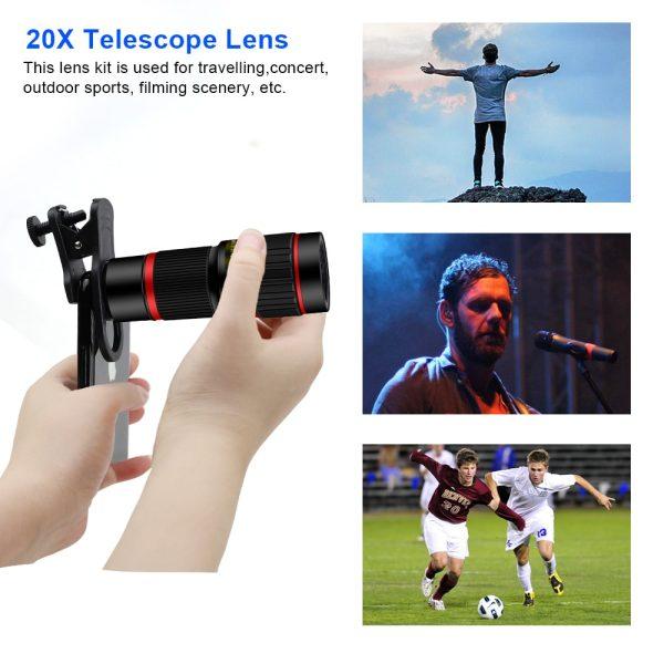 Obiectiv 20X zoom pentru telefon AIKE HD cu trepied si declansator bluetooth inclus-4989