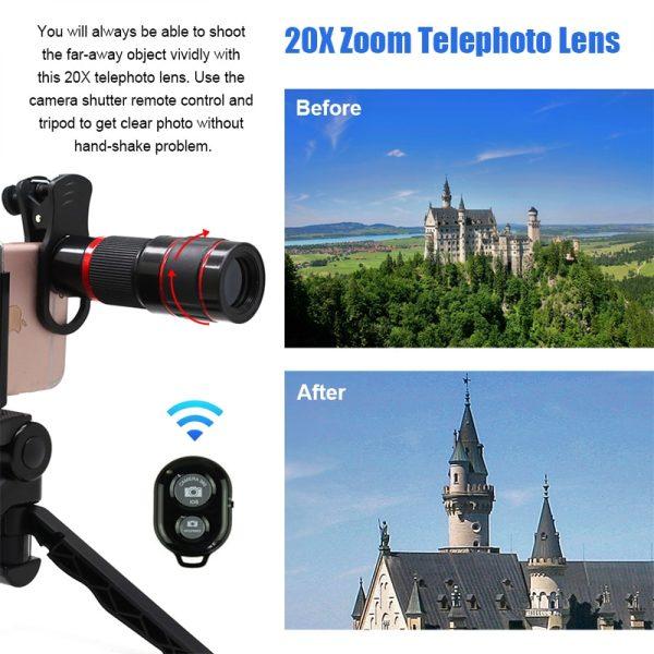 Obiectiv 20X zoom pentru telefon AIKE HD cu trepied si declansator bluetooth inclus-4992