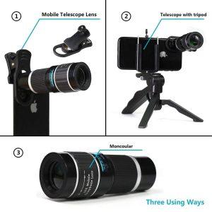 Obiectiv 20X zoom pentru telefon AIKE HD cu trepied si declansator bluetooth inclus-0