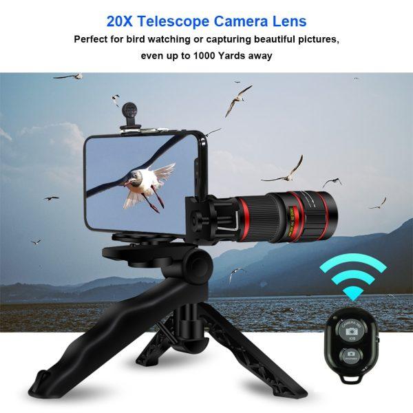 Obiectiv 20X zoom pentru telefon AIKE HD cu trepied si declansator bluetooth inclus-4991
