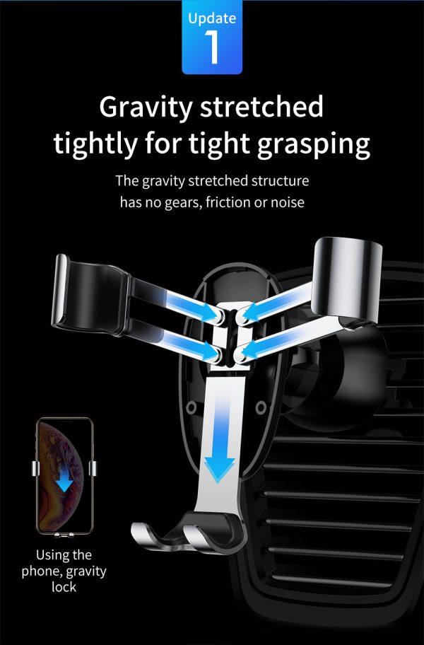 Suport telefon pentru masina Baseus Mini gravity holder negru -5102