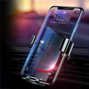 Suport telefon pentru auto cu montare pe ventilatie Baseus Metal Age Gravity negru -0