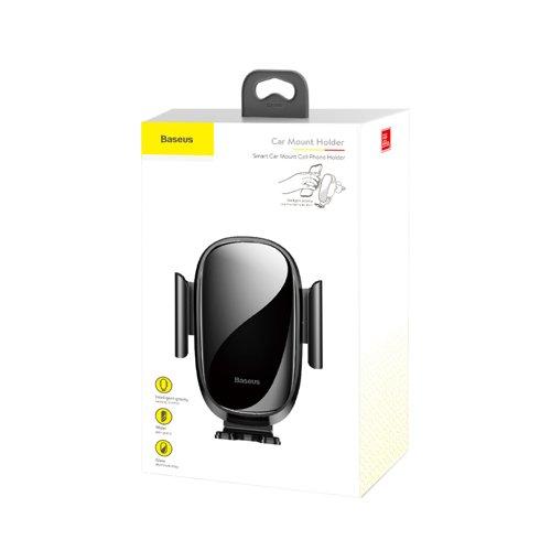 Suport telefon pentru masina pe grila de ventilare Baseus Smart Car Mount negru-0