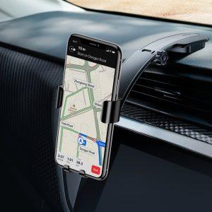 Suport telefon pentru auto cu vacuum de noua generatie Baseus Metal Age Gravity negru-0