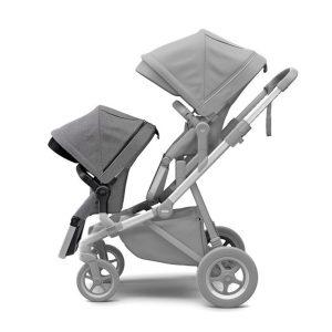 Carucior Thule Sleek pentru 2 copii Grey Melange